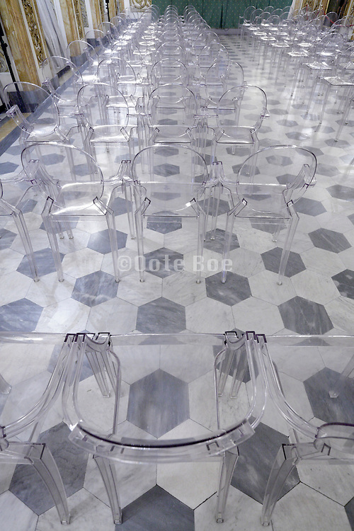 empty conference room in elegant old classic room with clear plastic chairs