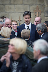 © Licensed to London News Pictures . 20/09/2014 . Manchester , UK . ED MILIBAND after the service . Departures at the funeral of Heywood and Middleton MP Jim Dobbin at Salford Cathedral today (Saturday 20th September 2014) . Photo credit : Joel Goodman/LNP