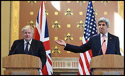 Image ©Licensed to i-Images Picture Agency. 19/07/2016. London, United Kingdom. Boris Johnson meets  John Kerry. The Foreign Secretary Boris Johnson during a press conference in the Foreign Office with United States Secretary of State, John Kerry. Picture by Andrew Parsons / i-Images