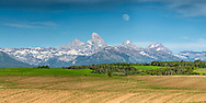 Rising moon over the Grand Tetons with the rolling hills of Teton Valley's potato farms below.<br /> <br /> This 2X1 ratio panorama can be printed 9 foot wide at 150-dpi.   Order panorama prints directly from me for that custom touch.