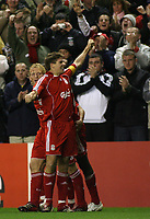 Photo: Paul Thomas.<br /> Liverpool v Bordeaux. UEFA Champions League, Group C. 31/10/2006.<br /> <br /> Steven Gerrard and his Liverpool team mates celebrate his goal.