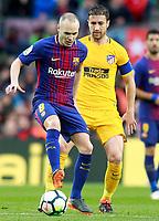 FC Barcelona's Andres Iniesta (l) and Atletico de Madrid's Gabi Fernandez during La Liga match. March 4,2018. (ALTERPHOTOS/Acero)