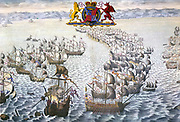 The Spanish Armada: The Spanish fleet under the Duke of Medina Sidonia sailed against England in 1588. The Royal coat of arms shows the English Lion and the Welsh Dragon representing the Tudor element of the monarchy.