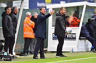 Plymouth Argyle manager Derek Adams in the technical area during the EFL Sky Bet League 1 match between Plymouth Argyle and AFC Wimbledon at Home Park, Plymouth, England on 6 October 2018.