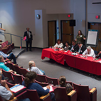"""Community leaders participate in an open forum panel discussion titled """"The Challenges of Developing a Skilled Workforce in the Region,"""" during the 2016 Workforce Development Leadership Summit at University of New Mexico in Gallup Thursday. Community members offered questions and suggestions to the panel on how best to improve the workforce in the area."""