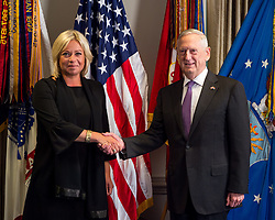 Defense Secretary Jim Mattis meets with Netherland's Minister of Defence Jeanine Hennis-Plasschaert at the Pentagon in Washington, D.C., Aug. 15, 2017. (DOD photo by Army Sgt. Amber I. Smith)