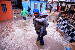 South Africa Cape Town 11 June 2020 Flooded in Zwezwe Informal Settlement in Khayelitsha. All their belongings have been damaged as water continues to flood inside their homes due to heavy rains. Heavy rainfall has graced many areas in Khayelitsha and the rest of the province. The rest of the week is expected to bring even more rain, with gale force winds and chilly temperatures. Photographer Ayanda Ndamane African News Agency/ANA