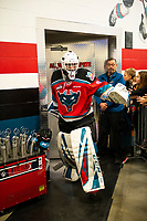 KELOWNA, CANADA - DECEMBER 7:  Roman Basran #30 of the Kelowna Rockets exits the dressing room for the ice against the Victoria Royals on December 7, 2018 at Prospera Place in Kelowna, British Columbia, Canada.  (Photo by Marissa Baecker/Shoot the Breeze)