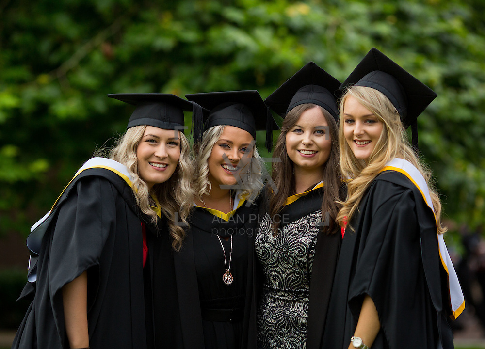 """23.08.2016        <br /> Over 300 students graduated from the Faculty of Arts, Humanities and Social Science at the University of Limerick today. <br /> <br /> Attending the conferring ceremony were Bachelor of Arts (Joint Honours) graduates, Fiona Burke, Dunmanway Co. Cork, Sally Greenwood, Abbotsford Canada, Aisling B butler, Caherdavin, Limerick and Niamh O'Brien. Picture: Alan Place.<br /> <br /> <br /> <br /> <br /> UL Graduates Employability remains consistently high as they are 14% more likely to be employed after Graduation than any other Irish University Graduate<br /> Each year, the Careers Service collects information about the 'First Destinations' of UL graduates. During the April/May period following graduation, we survey those who have completed full-time undergraduate and postgraduate courses for details on their current status. This current survey was conducted nine months after graduation and focuses on the employment and further study patterns of the graduates of 2015. A total of 2,933 graduates were surveyed and a response rate of 87% was achieved. <br /> As the University of Limerick commences four days of conferring ceremonies which will see 2568 students graduate, including 50 PhD graduates, UL President, Professor Don Barry highlighted the continued demand for UL graduates by employers; """"Traditionally UL's Graduate Employment figures trend well above the national average. Despite the challenging environment, UL's graduate employment rate for 2015 primary degree-holders is now 14% higher than the HEA's most recently-available national average figure which is 58% for 2014"""". The survey of UL's 2015 graduates showed that 92% are either employed or pursuing further study."""" Picture: Alan Place"""