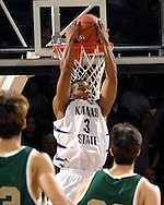 Kansas State guard Lance Harris (3) scores with a reverse dunk in the first half against William & Mary at Bramlage Coliseum in Manhattan, Kansas, November 11, 2006.  K-State leads William & Marry at half 34-27.<br />