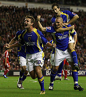 Photo: Paul Thomas.<br /> Liverpool v Cardiff City. Carling Cup. 31/10/2007.<br /> <br /> Darren Purse (R) and Cardiff celebrate his goal.