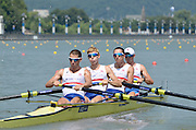Chungju, South Korea.  GBR LM4-, Bow. Adam FREEMAN-PASK,  William FLETCHER, Jonathan CLEGG and Chris BARTLEY, move away from the start on the second day of the 2013 FISA World Rowing Championships, Tangeum Lake International Regatta Course. 03:38:05  Monday  26/08/2013 [Mandatory Credit. Peter Spurrier/Intersport Images]
