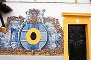 Winery building. With typical Portuguese enamelled tiles. JM Jose Maria da Fonseca, Azeitao, Setubal, Portugal