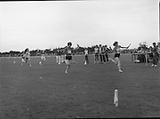 President Hillery at The Community Games..1979..15.09.1979..09.15.1979..15th September 1979..President Patrick Hillery attended the opening of The National Community Games finals at Mosney, Co Meath today. The finals were held in the grounds of The Butlins Holiday Centre and were sponsored by Tayto Irl Ltd,Greencastle Road,Coolock,Dublin..Image shows Martina O'Donohue leading home the Spa-Muckross, Co Kerry, girls Under 12 Relay race.