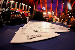 Draft cards on the Philadelphia Eagles Draft desk before the first round of the NFL Draft on April 26th 2012 at Radio City Music Hall in New York, New York. (AP Photo/Brian Garfinkel)