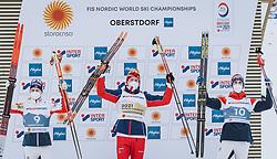 27.02.2021, Oberstdorf, GER, FIS Weltmeisterschaften Ski Nordisch, Oberstdorf 2021, Herren, Langlauf, Skiathlon, im Bild v.l.: 2. Platz Simen Hegstad Krueger (NOR), Winner Alexander Bolshunov (RSF), 3. Platz Hans Christer Holund (NOR) // f.l.: 2nd placed Simen Hegstad Krueger of Norway Winner Alexander Bolshunov of Russian Federation 3nd placed Hans Christer Holund of Norway during men Cross Country Skiathlon competition of the FIS Nordic Ski World Championships 2021. in Oberstdorf, Germany on 2021/02/27. EXPA Pictures © 2021, PhotoCredit: EXPA/ Dominik Angerer