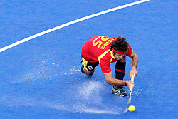 Pau Quemada of Spain during Pool MA Hockey  match between South Africa and Spain held at the Riverbank Arena in Olympic Park in London as part of the London 2012 Olympics on the 3rd August 2012..Photo by Ron Gaunt/SPORTZPICS