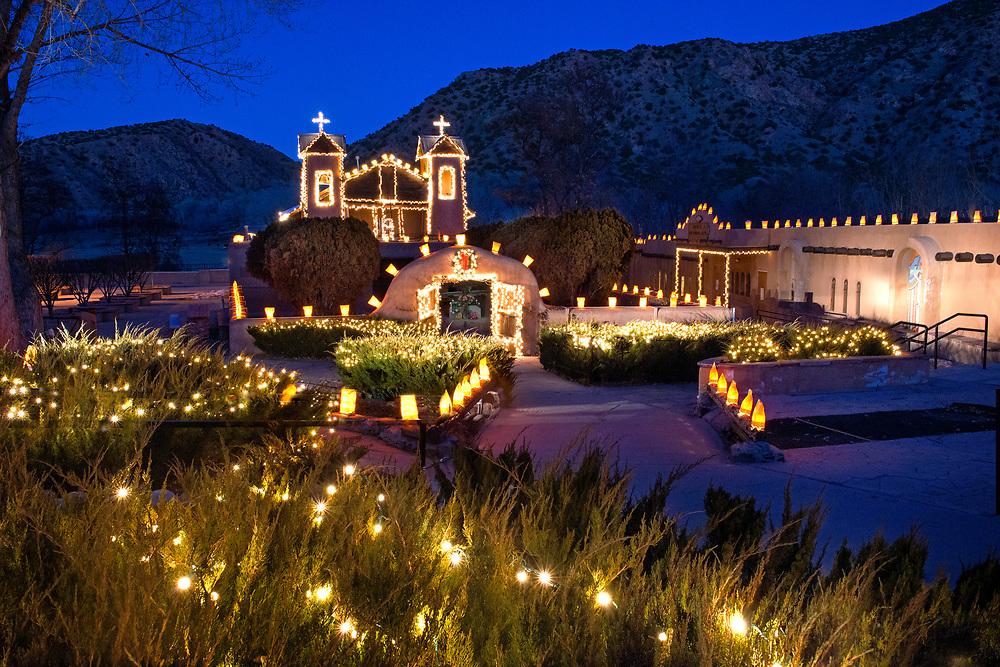 El Santuario de Chimayo Christmas lights and farolitos, Chimayo, New Mexico