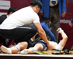 JAKARTA, Aug. 24, 2018  Jang Yeonhak of South Korea lays down during men's weightlifting 85kg event at the 18th Asian Games in Jakarta, Indonesia, Aug. 24, 2018. (Credit Image: © Lihe/Xinhua via ZUMA Wire)