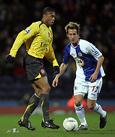 Photo: Paul Thomas.<br /> Blackburn Rovers v Arsenal. The FA Cup. 28/02/2007.<br /> <br /> Julio Baptista (L) of Arsenal goes past Morten Gamst Pedersen.