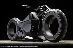 Tim McNamer's Girder Air style Zero SRF Electric motorcycle. Photographed by Michael Lichter in Sturgis, SD. August 6, 2021. ©2021 Michael Lichter