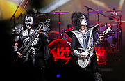 Gene Simmons and Tommy Thayer of the rock band KISS perform during their concert at Bridgestone Arena Tuesday, April 9, 2019, in Nashville, TN.
