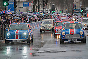 The vintage minis - The New Years day parade passes through central London form Piccadilly to Whitehall. London 01 Jan 2017