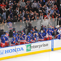 May 7, 2012: The New York Rangers bench and fans react to the game tying goal with 6.6 remaining in third period action in game 5 of the NHL Eastern Conference Semi-finals between the Washington Capitals and New York Rangers at Madison Square Garden in New York, N.Y.