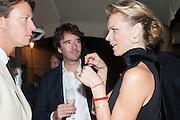 GREGORIO MARSIAJ; ANTOINE ARNAULT; EVA HERZIGOVA;  Dinner to celebrate the opening of the first Berluti lifestyle store hosted by Antoine Arnault and Marigay Mckee. Harrods. London. 5 September 2012.