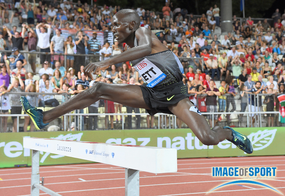 Aug 25, 2016; Lausanne, Switzerland; Nicholas Bett (KEN) places second in the steeplechase in 8:10.07 during the 2016 Athletissima in an IAAF Diamond League meeting at Stade Olympique de la Pontaise. Photo by Jiro Mochizuki