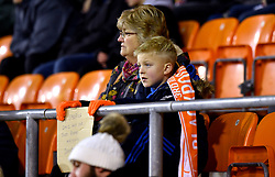 "Blackpool fans in the stands during the Emirates FA Cup, third round match at Bloomfield Road, Blackpool. PRESS ASSOCIATION Photo. Picture date: Saturday January 5, 2019. See PA story SOCCER Blackpool. Photo credit should read: Anthony Devlin/PA Wire. RESTRICTIONS: EDITORIAL USE ONLY No use with unauthorised audio, video, data, fixture lists, club/league logos or ""live"" services. Online in-match use limited to 120 images, no video emulation. No use in betting, games or single club/league/player publications."