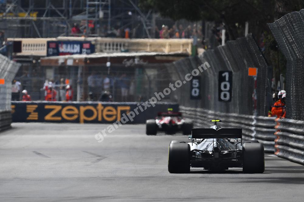 Valtteri Bottas (Mercedes) and Antonio Giovinazzi (Alfa Romeo-Ferrari) seen from behind during practice before the 2019 Monaco Grand Prix. Photo: Grand Prix Photo