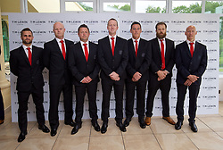 CARDIFF, WALES - Wednesday, June 1, 2016: Wales' masseur Chris Senior physiotherapist Sean Connelly, physiotherapist David Weeks, Medical Officer Doctor Jon Houghton, masseur David Rowe, Jamie Benito Plans, physiotherapist Paul Harris wearing T.M. Lewin suits before a charity send-off gala dinner at the Vale Resort Hotel ahead of the UEFA Euro 2016. (Pic by David Rawcliffe/Propaganda)