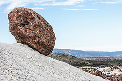 Balancing rock and volcanic tuff, Big Bend National Park, Texas, USA.