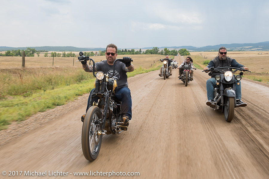 Bobby Seeger and Randy Noldge on Aidan's Ride to raise money for the Aiden Jack Seeger nonprofit foundation to help raise awareness and find a cure for ALD (Adrenoleukodystrophy) during the annual Sturgis Black Hills Motorcycle Rally. Riding the cut-off Fort Meade Way between I-90 and the Buffalo Chip, SD, USA. Tuesday August 8, 2017. Photography ©2017 Michael Lichter.
