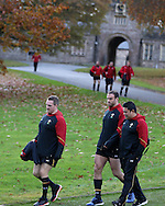 Gethin Jenkins of Wales , who will captain the side on Saturday (l) arrives for the Wales rugby team training at the Vale Resort, Hensol, Vale of Glamorgan, in South Wales on Thursday 3rd November 2016, the team are preparing for their match against Australia this weekend. pic by Andrew Orchard, Andrew Orchard sports photography