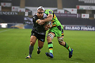 Dmitri Arhip of the Ospreys powers over and scores his teams 1st try. European Rugby Champions Cup, pool 2 match, Ospreys v Northampton Saints at the Liberty Stadium in Swansea, South Wales on Sunday 17th December 2017.<br /> pic by  Andrew Orchard, Andrew Orchard sports photography.