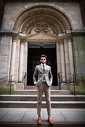 """© Licensed to London News Pictures . 30/06/2016 . Manchester , UK . RYAN STAVELEY , who appeared on the Channel 5 TV show """" Body Freak make me a perfect 10 """" , posing for photos in Manchester City Centre . He's been binding his feet to reduce his shoe size . Photo credit : Joel Goodman/LNP"""