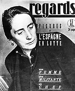 Spanish Civil War.  Delores Ibarruin, the passionate, in the journal 'perspectives', August 6, 1936.  A woman, a activist, passionate.