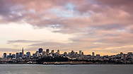 San Francisco, USA -- January 25, 2016. The San Francisco Skyline in early evening, seen from the bay in winter.
