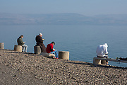 Praying at the Sea of Galilee at the Fransican Monastery at Capernaum, Israel