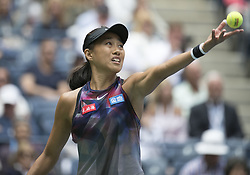 September 2, 2017 - Flushing Meadows, New York, U.S - Shuai Zhang during her match on Day Six of the 2017 US Open with Karolina Pliskova at the USTA Billie Jean King National Tennis Center on Saturday September 2, 2017 in the Flushing neighborhood of the Queens borough of New York City.  Pliskova defeats Shuai, 6-3, 7-5, 6-4. (Credit Image: © Prensa Internacional via ZUMA Wire)
