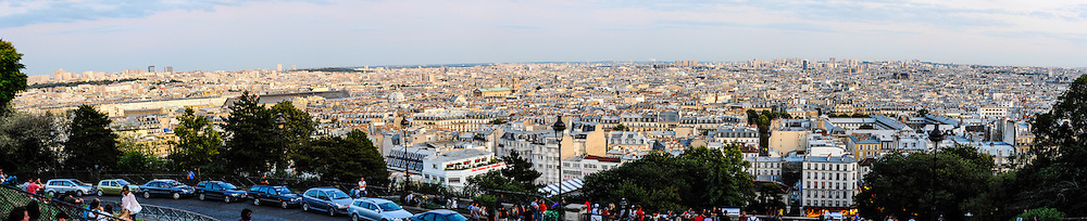 Panorama view from Sacre-Coeur, a popular landmark on top of Montmartre, the highest point in Paris, France.
