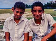 Two teenage boys Cayman Brac High School, Cayman Islands, West Indies, c 1990