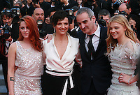 Kristen Stewart, Juliette Binoche, director Olivier Assayas and  Chloe Grace Moretz at Sils Maria gala screening red carpet at the 67th Cannes Film Festival France. Friday 23rd May 2014 in Cannes Film Festival, France.