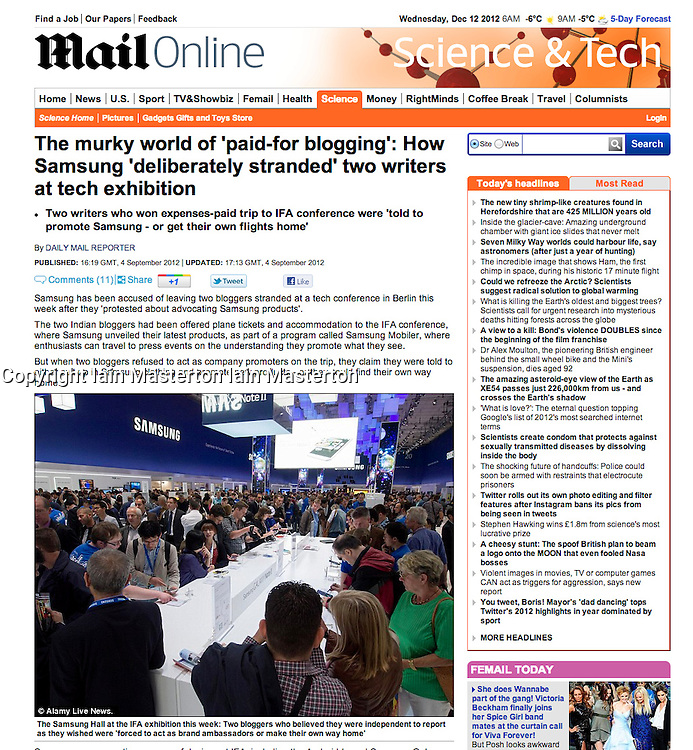 Daily Mail online; IFA consumer show in Berlin 2012