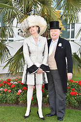 Lord Julian Fellowes and Lady Emma Kitchener-Fellowes at The Investec Derby, Epsom, Surrey England. 3 June 2017.<br /> Photo by Dominic O'Neill/SilverHub 0203 174 1069 sales@silverhubmedia.com