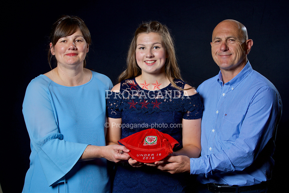 NEWPORT, WALES - Saturday, May 27, 2017: Alice Griffiths and family with her Under-16 Wales cap at the Celtic Manor Resort. (Pic by David Rawcliffe/Propaganda)