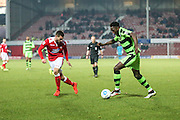 Forest Green Rovers Manny Monthe(3) runs forward during the Vanarama National League match between Wrexham FC and Forest Green Rovers at the Racecourse Ground, Wrexham, United Kingdom on 26 November 2016. Photo by Shane Healey.