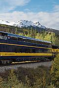 Train from the Alaskan Railroad passing through Denali National Park, Alaska